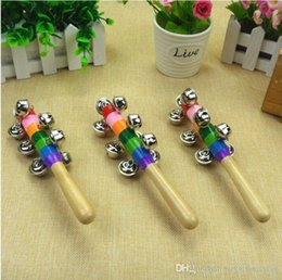 metal baby rattle Australia - DHL Free shipping Baby Rainbow Toy kid Pram Crib Handle Wooden Activity Bell Stick Shaker Rattle