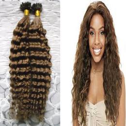 Discount glued human hair extensions - 100s pcs Brazilian virgin kinky curly hair Fusion Hair U Tip Pre-Bonded Keratin Glue Remy Natural Human Hair Extensions