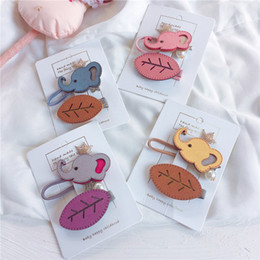 Artificial Hair Clips Australia - 2019 New Korean Style Baby Leaf Hair Clips 12sets lot Cartoon Design Artificial Leather Elephant Mini Crown Hairbands Hair Accessories