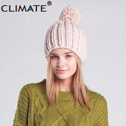 3dca947c0cc CLIMATE Women Fashion Winter Hat Warm Pompom Hat Beanie Women Pompon Nice  Knitted Warm Winter Beanie For Girls Lady