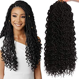 $enCountryForm.capitalKeyWord Australia - 18 Inch Wavy Goddess Faux Locs Crochet Hair With Curly Ends Synthetic Braiding Hair Extension 20 Strands pack (1B#)
