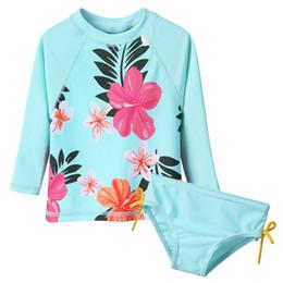 Swimwear Infant Australia - BAOHULU Floral Long Baby Swimwear Infant Bathing Suit Swimsuit for Toddler Girls Children Swimwear Cyan 50+UV Summer 2018