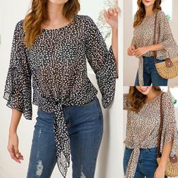 $enCountryForm.capitalKeyWord Australia - Fashion Women Chiffon Blouses Ruched Bow Petal Sleeve Loose Tops American Casual Sheer Streetwear Summer Leaf Print Shirts
