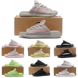 Ingrosso 2019 adidas 350 New Summer Fashion Pantofola di marca per uomo donna Sandali piatti firmati Gid Glow triple nero bianco Grigio giallo Antiscivolo taglia 36-45