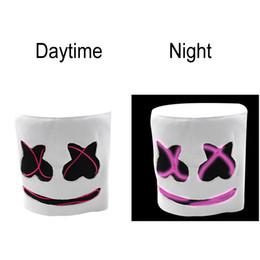 Опт Взрослые Мужчины / Женщины Смешно LED Night Light Маска Cap Marshmello DJ Косплей LED Шлем Реквизит Партии Хэллоуин Подарок Дышащий Головной Убор BH1164 TQQ