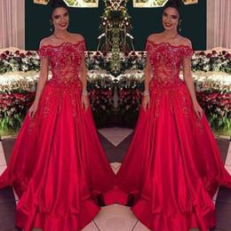 3048144b29b8 Dress Falls Off Nude Australia - 2019 New Arrvial Evening Dresses Red Off  The Shoulder Beads