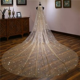 $enCountryForm.capitalKeyWord NZ - Princess wedding veil low price 3 yards long tail lace beautiful bride veil a layer of champagne golden sparkling starry Bridal Veils