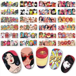 cover pop art 2019 - 1 set 12 Nail Designs Full Cover Water Transfer Sticker Nail Art Pop Art Slider Lips Cool Girl Sexy Women Designs DIY Ma