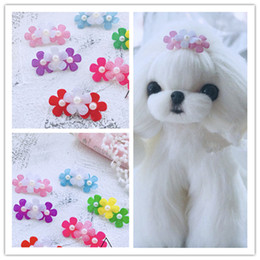 Dog Grooming Hair Clip Australia - 2019 Pet Hair HirpinHandmade pet tiara Dogs head flower Teddy Yorkshire Maltese Cats Grooming Accessories Clips hairpin 50pcs lot