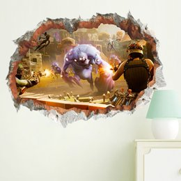 Living Room Bedroom Furniture NZ - 3d battle game wall stickers for kids room adhesive home decor baby bedroom wall decals living room furniture mural
