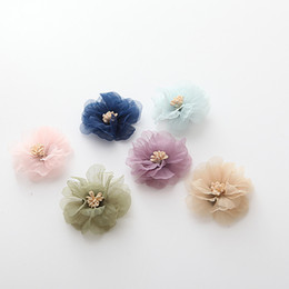 Hair rosettes online shopping - Chiffon Satin Stamen Flower Artificial Rose Flower For Hair Accessories S Rosette Flower For Diy Hair Decoration Y19061103