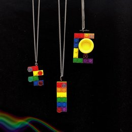 $enCountryForm.capitalKeyWord NZ - retro hiphop harajuku style Rainbow building blocks necklace couple pendant for men and women free shipping accessories