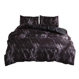 Chinese  New-Bedding Set Queen Size Black Marble Printed Reactive Ropa De Cama Bed Set For Adult Double Bedding Sets Duvet Cover manufacturers