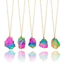 Earrings matching nEcklacEs online shopping - Seven Color Chain Necklace Jewelry Earrings Matching Package Decoration Natural Stone Winding Crystal Pendant Transparent Multicolor A13