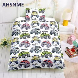 children cars cartoon NZ - AHSNME Special Promotion! ! ! Offroad Racing Bedding Set Cartoon Toy Cars Pattern Children super love gift Quilt Cover