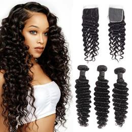 16 Inch Deep Wave Hair Australia - 7A Malaysian Deep Wave Virgin Hair 3 Bundles With Closure 100% Brazilian Human Hair Bundles 10-26 Inch 4x4 Closure Natural Color Remy Hair