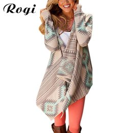 $enCountryForm.capitalKeyWord UK - Rogi Cardigan Jackets Coat Blouson Women Asymmetrical Print Poncho Overcoat Loose Jumper Tunic Kimono Tops Pull Femme C19041501