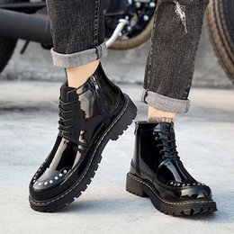 89a4263b376 British style Sewing Martin Boots fashion men Motorcycle boots short ankle  flat heel high-top casual Patent Leather rivet shipping with box