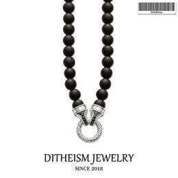 Obsidian Pendants Men Australia - Beads Necklace Carrier 10mm Obsidian, 2018 New Fashion 925 Sterling Silver Jewelry European Punk Gift For Men Women Boy Girls J190530