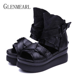 $enCountryForm.capitalKeyWord Australia - 2019 Summer Genuine Leather Women Sandals Platform Women Shoes Wedge Heel Fish Head High Heels Black Sandals Singles Shoes 20 Y190706