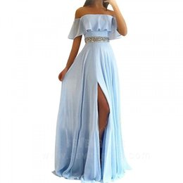 $enCountryForm.capitalKeyWord UK - Unique Light Blue Prom Dress With Slits Caped Off The Shoulder Beaded Elegant Long Evening Party Dresses For Graduation Date 2019 Prom Gown