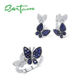 925 Sterling Jewelry Sets Australia - Santuzza For Women Gorgeous Butterfly Earrings Ring Genuine 100% 925 Sterling Silver Sparkling Jewelry Set J 190514