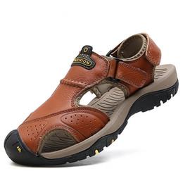 $enCountryForm.capitalKeyWord Australia - Kezrea 2018 Genuine Leather Casual Sandal Summer Soft Male Sandals Shoes for Men Breathable Light Beach Quality Walking Sandal