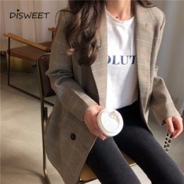 ladies office jackets Australia - Office Ladies Plaid Coat Women Loose Tops Double Breasted Jacket Female 2019 Casual Pockets Female Suits Coat Y200101