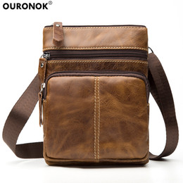 Vertical messenger shoulder bag online shopping - OURONOK Genuine Cow Leather Men Bag Vertical Women Unisex Shoulder Messenger Bag Zipper pouch for Gift Men Women Crossbody