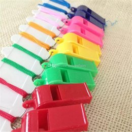 Colorful Whistles NZ - Colorful plastic Whistle!Cheap hot popular Noise maker for sport game party Christmas!Lovely chic Whistles Wholesale a202-a207
