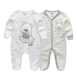 half rompers Canada - 2 PCS lot newborn long sleeve winter baby rompers jumpsuit 2019 baby rompertjes cotton ropa bebe baby boy girl clothesMX190912