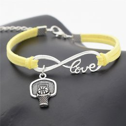 $enCountryForm.capitalKeyWord Australia - Hot Braided Yellow Leather Suede Bracelet Bangles Infinity Love Shoot Basketball Hoop Rim Sport Cuff Jewelry Vintage Women Men pulseira Gift