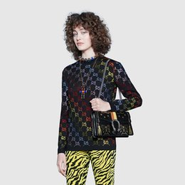 Computer printing shirt online shopping - 2019 New Fashion Designer Sweater High Quality Luxury Black Knit Letter Shirt Rainbow Hot Drilling Wool Sweater Size S L