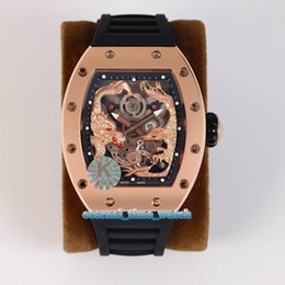 Venta al por mayor de Mejor edición RM 51-01 3D Dragon Phoenix Totem Skeleton Dial Japan Miyota Reloj automático para hombre RM51-01 Caja de oro rosa Relojes de goma para caballero