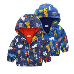 0ec7b5a55d40 Boys Cute Cartoon Animals Jacket Zipper Hoodie Baby Kids Cotton Lined  Casual Hooded Windbreaker Raincoat Outdoor Coat Clothes