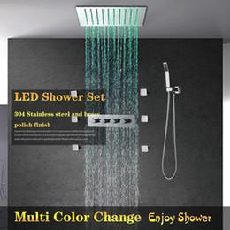 $enCountryForm.capitalKeyWord NZ - Modern Luxury European Style Shower Set 3 functions Shower hot cold Mixer Rainfall Bathroom Led Ceiling light rainbow color change