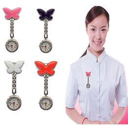 Jade Dresses Australia - Pocket Medical Nurse Fob Watch Women Dress Watches 4 Color Clip-on Pendant Hanging Quartz Clock Butterfly Shape relogio de bolso