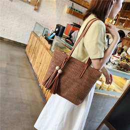 $enCountryForm.capitalKeyWord Australia - Women Straw Simple Solid Handbag Ladies Versatile Travel Shopping Shoulder Bag Large-capacity Fashion Handbags Bolsa Feminina