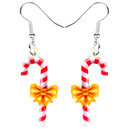 Sweet candy girl online shopping - Acrylic Christmas Sweet Candy Cane Earrings Drop Dangle Cute Ornaments Jewelry For Women Girls Teens Gift Accessories New