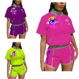 $enCountryForm.capitalKeyWord Australia - Champion Summer Women Two Piece Set Reflective Strip T-Shirt + shorts DesignerTracksuit sportswear gym running suit Brand Outfit C6303