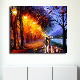 Cartoon Lake Australia - Rainy Night Walk Alley By The Lake HD Wall Art Canvas Posters Prints Landscape Painting Wall Pictures For Living Room Home Decor