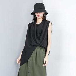 $enCountryForm.capitalKeyWord Australia - New 2019 Korean Style Women Solid Black Sleeveless Top Hipster V Neck Tee Shirt Female Casual Special Cool T-shirt Tshirts F288