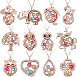 """Memory Locket Pendant Wholesale Australia - 300 Styles Diameter 8mm Beads Pearl Cage Living Memory Magnetic Closed Floating Locket Rhinestone Pendant Necklace Gift With Chain 27"""""""