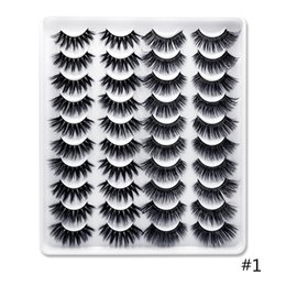 one long eyelash NZ - Free Shipping Wholesale Hot sale 20 pairs in one tray 3D mink natural eyelashes set Factory price