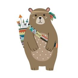 $enCountryForm.capitalKeyWord Australia - Cartoon creative brown bear wall stickers children's room kindergarten living room decoration stickers plus sponge stick
