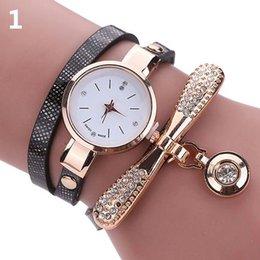 Thin leaTher waTch band online shopping - Fashion Thin Faux Leather Band Clock Rhinestone Dial Analog Quartz Wrist Watch with diamond pendant women watches reloj mujer