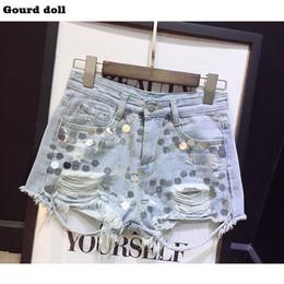 $enCountryForm.capitalKeyWord Australia - Gourd doll 2017 Summer Sequins women Denim Shorts Ripped Hole female Jeans Short High waist Shorts size S-XL