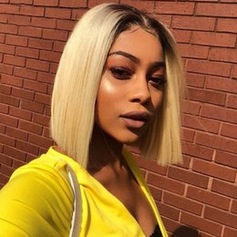 $enCountryForm.capitalKeyWord Australia - Short Straight Brazilian remy Human Hair Lace Front Wig Ombre blond 1B #613 Bob Cut Lace Wig Pre Plucked Baby Hair