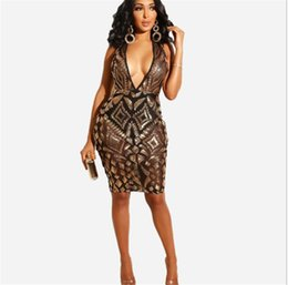 $enCountryForm.capitalKeyWord NZ - Womens Summer V Neck Sexy Dresses Night Club Fashion Sequined Vest Skirt Bodycon Panelled Party Clothing