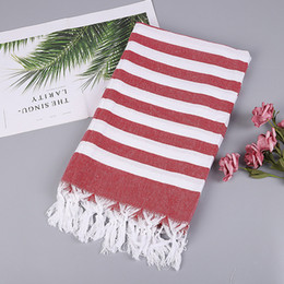 thin beach towels NZ - Turkish Style Fashion Stripes Thin Bath Towel 100% Cotton Beach Towel With Tassels Picnic Blanket Mat Tapestry 100*180cm